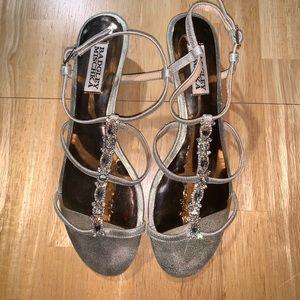 Badgley Mischka jewel embellished gold sandals